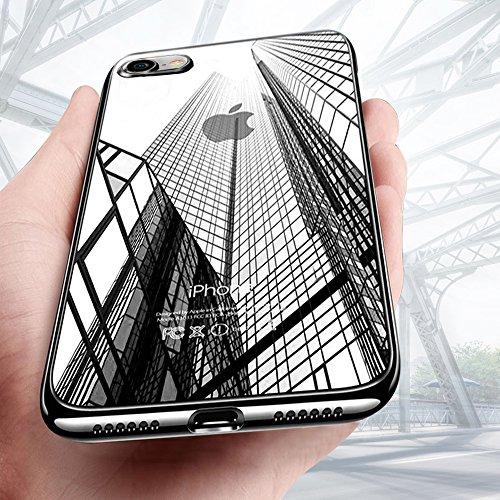 Preisvergleich Produktbild KKTICK iPhone 8 Hülle,  iPhone 7 Hülle,  Schutzhülle Apple iPhone 8 Kratzfeste Plating TPU Bumper Case [Ultra Slim] Silikonhülle Tasche iPhone 7 rutschfeste Handyhülle für iPhone 8 Case Cover- Schwarz