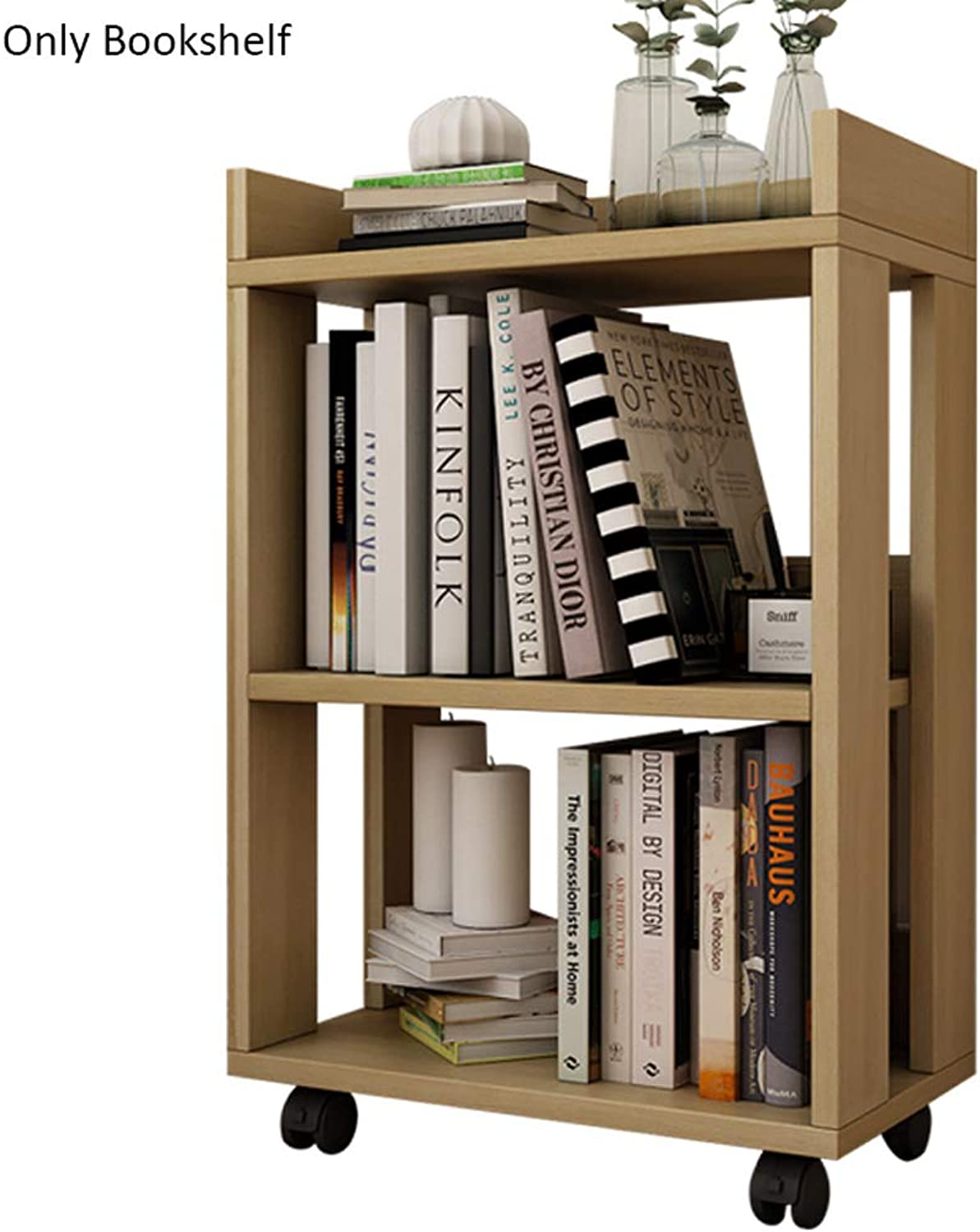Wooden Pulleys Can Move Small Bookshelves, Two-Story Home Floor Racks (color   Natural)