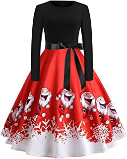 LOPILY Vintage Gatsby Tunic Dress Christmas Women's Plus Size Ball Gown Scoop Neck Long Sleeve A Line High Waist Bow Knot ...