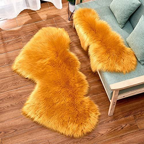 Modenny Mode mjukt vardagsrum fluffig plysch område matta fuskpäls matta dubbelt hjärta konstgjord ull fårskinn mattor lurviga mattor sovrum soffa matta mattor (färg: 14, storlek: 60 x 120 cm)