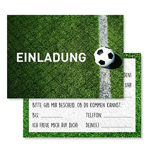 Gentle North 15 x Fussball Einladungskarten Kindergeburtstag (Größe A6) - Coole Fußball Einladung zum Kinder Geburtstag für Jungen und Mädchen - Witzige Einladungskarte zur Geburtstagsfeier - Linie