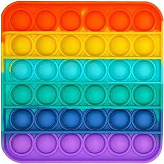 Disuozn スクイーズ玩具 プッシュポップ フィジェットおもちゃ プッシュポップポップ バブル感覚 減圧グッズ ストレス解消 インテリジェンス発展 洗える可能 子供大人兼用 (正方形)