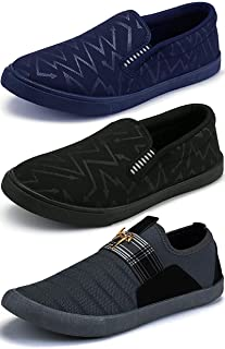 976d5bef3ba75 ETHICS Men's Combo Pack of 3 Navy Blue, Black & Grey Casual Loafers Shoes  for