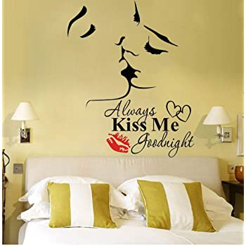 Romantic Lover Kiss Mural Removable Wall Sticker Art Decal Home Room Decor FI
