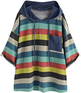 Sayhi Women Fashion Multicolor Striped Hoodies Blouse Printing O-Neck Drawstring Sweatshirt with Pocket Winter Pullover