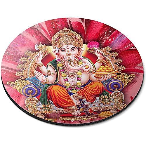Runde Mausunterlage - hinduistisches Büro-Geschenk Lords Ga-nesha In-dian In-Dia