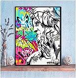VUSMH Cuadros Decoracion Escultura Barba Larga Colorido Graffiti Lienzo Pinturas Pared Estilo Moderno Poster e Impresiones Cuadros Decoración60x90cm x1 Sin Marco