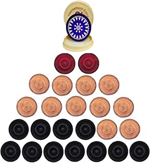 Family Cart Carom Board Coins Wooden Solid Set and Blue Tournament Striker with Fancy Case ( 24 Carrom Board Pieces with C...