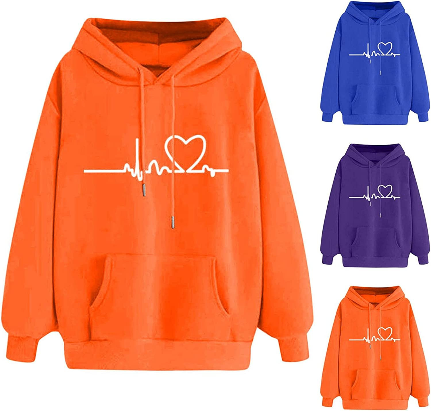 Fudule Cute Hoodies for Teen Girls Heart Graphic Sweatshirts Colorful Long Sleeve Shirts Casual Loose Fit Pullover Tops