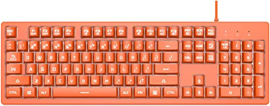 Ajazz DKS100 Quiet Keyboard, DOUYU White Backlit Mechanical Feel Membrane Gaming Keyboard, Wired 104 Keys for Gaming Office and Typing, Orange