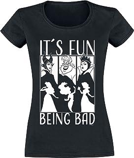 Disney Villains It´s Fun Being Bad Mujer Camiseta Negro, Regular