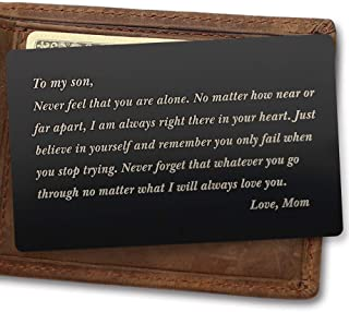 Engraved Wallet Card for Son Metal Wallet Card Gift for Son College Graduation Gift from Mom - To My Son, I Will Always Love You, Love Mom - Perfect Gifts for Son Birthday Gifts, Mother Son Gifts