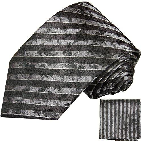 Brun rayé ensemble de cravate 2 Pièces (100% Soie Cravate + Mouchoir)