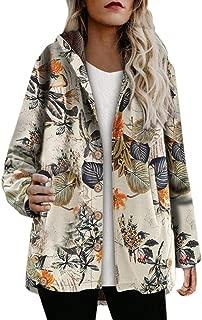 QueenMM 2019 Women's Casual Winter Warm Cotton Linen Zip Up Hooded Sweatshirt Vintage Fashion Jacket Coat