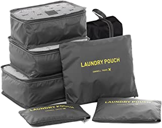 HiDay 7 Set Waterproof Packing Cube System - 3 Travel Cubes + 3 Pouches + 1 Premium Shoes Bag - Perfect Travel Luggage Organizer