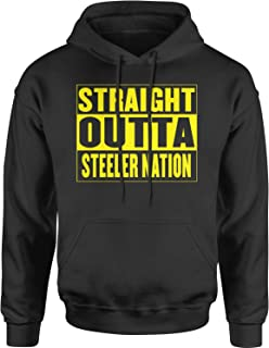 Expression Tees Straight Outta Steeler Nation Football Unisex Adult Hoodie