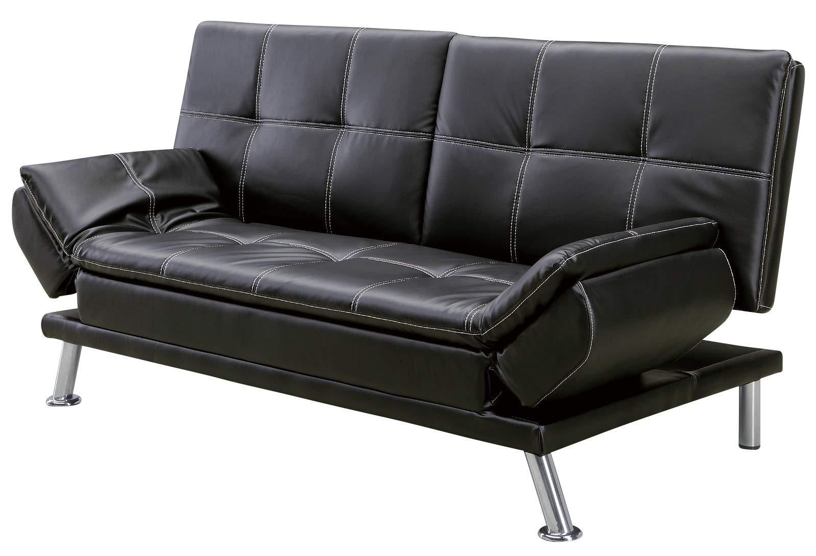 ソファーベッド ソファー 3人掛け レザー 黒 ブラック シック モダン 背もたれ3段階 幅188 シャーリー