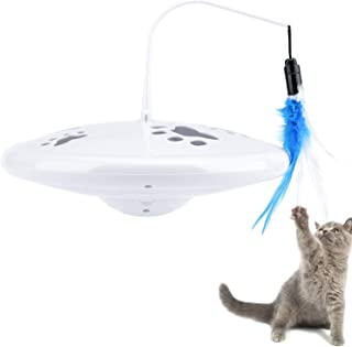 Pawaboo Cat Feather Teasing Toy, Electric Rotating Chirp Sound Teaser Flying Spinning Feather Wand Cat Catcher Toy, Interactive Fun Exerciser Playing Pet Toy for Cat Kitty Kitten