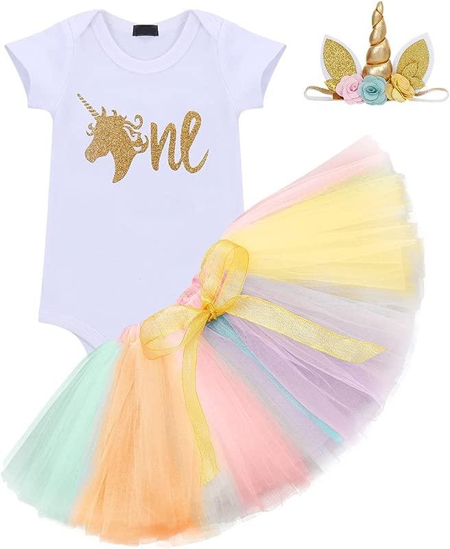 Baby Girl It S My 1st Birthday 3Pcs Outfits Skirt Set Romper Tutu Dress Headband Cake Smash Crown Bodysuit
