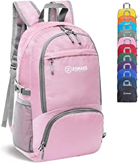 ZOMAKE 30L Lightweight Packable Backpack Water Resistant Hiking Daypack,Small Travel Backpack Foldable Camping Outdoor Bag Pink