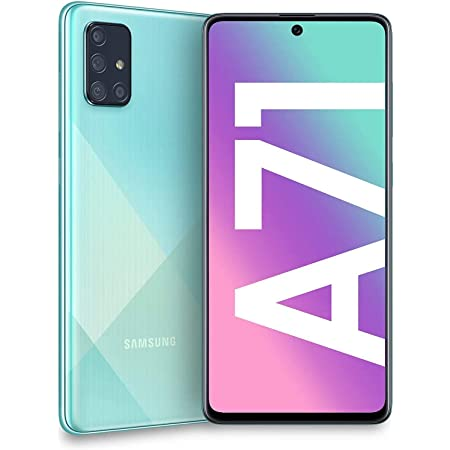 "Samsung Galaxy A71 (128GB, 6GB) 6.7"", 64MP Quad Camera, 25W Fast Charger, Android 10, GSM Unlocked US + Global 4G LTE International Model A715F/DS (128GB + 64GB SD + Case Bundle, Blue)"
