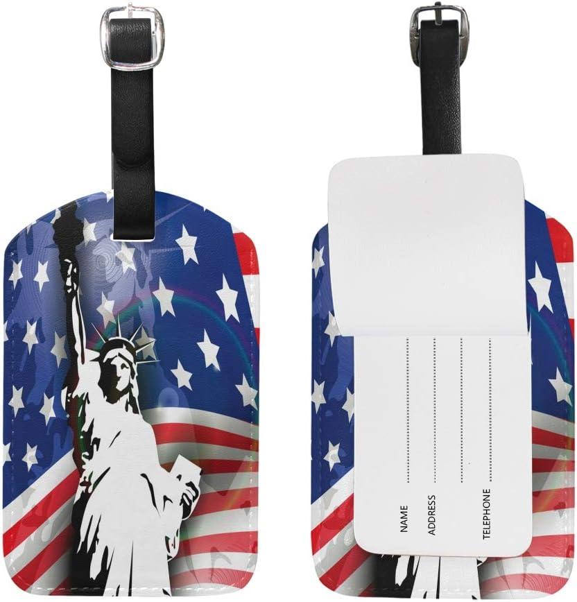 Estatua Libertad América Equipaje Etiquetas de Maleta Nombre Etiqueta de Dirección ID de Cuero para Viajes(2piezas)