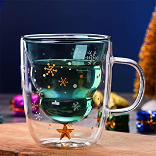 Creative Double-Layer Glass Christmas Tree Star Water Cup High Temperature Mug Mannequin for Birthday Party Bar (multicolor)