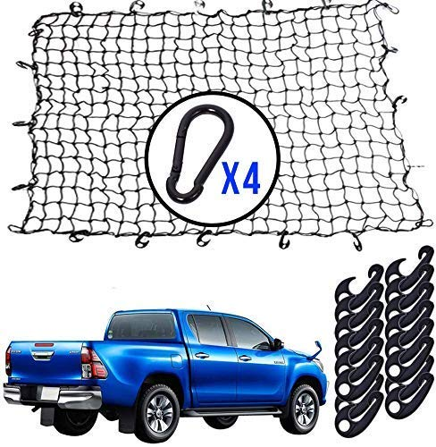 Cargo Net 4#039x6#039 Bungee Net Stretches to 8#039x12#039 3#039#039x3#039#039 Small Mesh Heavy Duty 5mm Holds Small and Large Loads Tighter  16 ABS Handy Hooks and 4 TangleFree D Clip Carabiners …