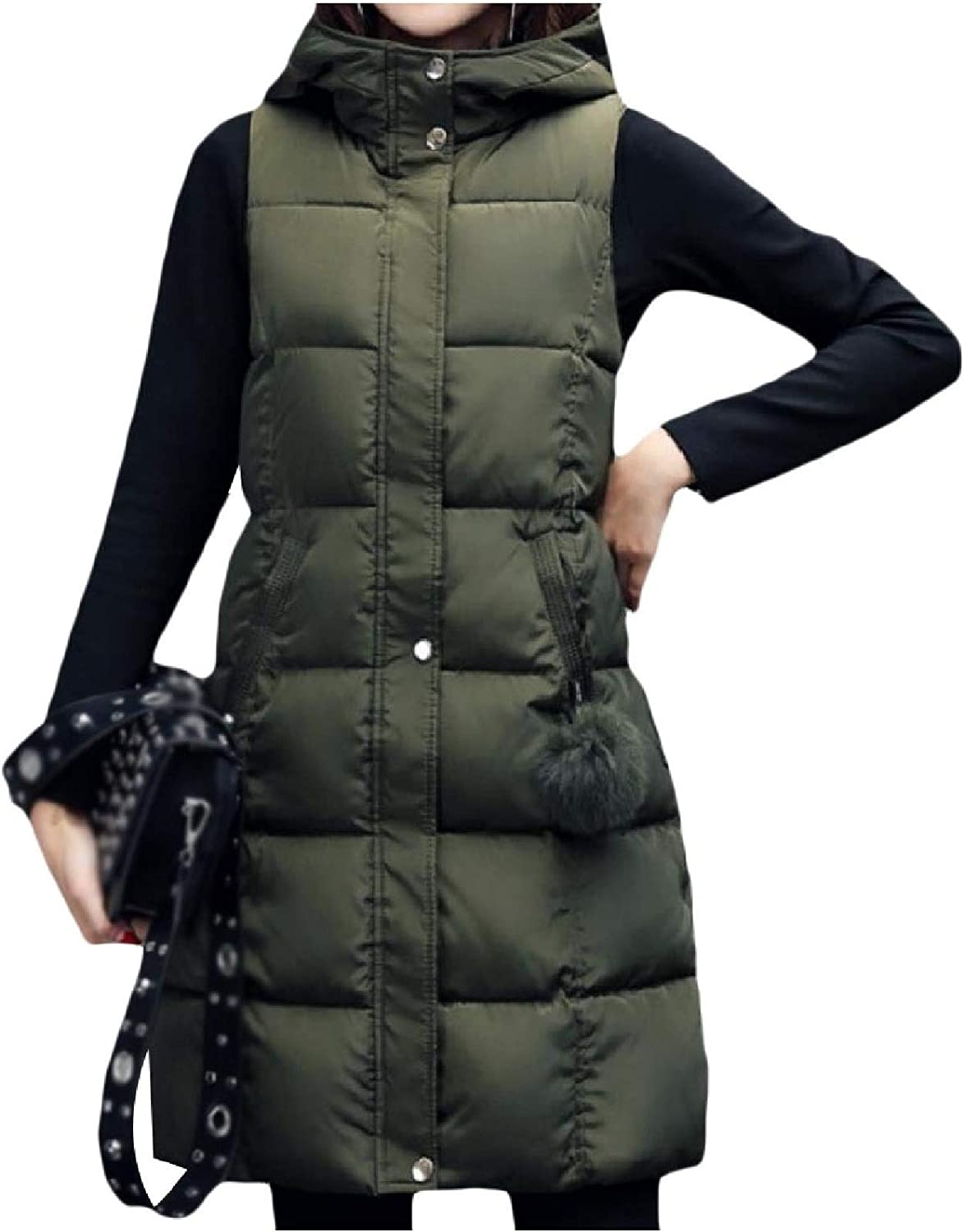 Womens Loose Hooded Coat Vest Trim-Fit Thickened Quilted Anorak Jacket