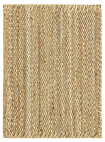 HAMID Jute Teppich - Granada Teppich 100% Natürliche Jutefaser - Weicher Teppich und Hohe Festigkeit - Handgewebt - Wohnzimmer, Esszimmer, Schlafzimmer, Flurteppich - Natürlich (70x50cm)