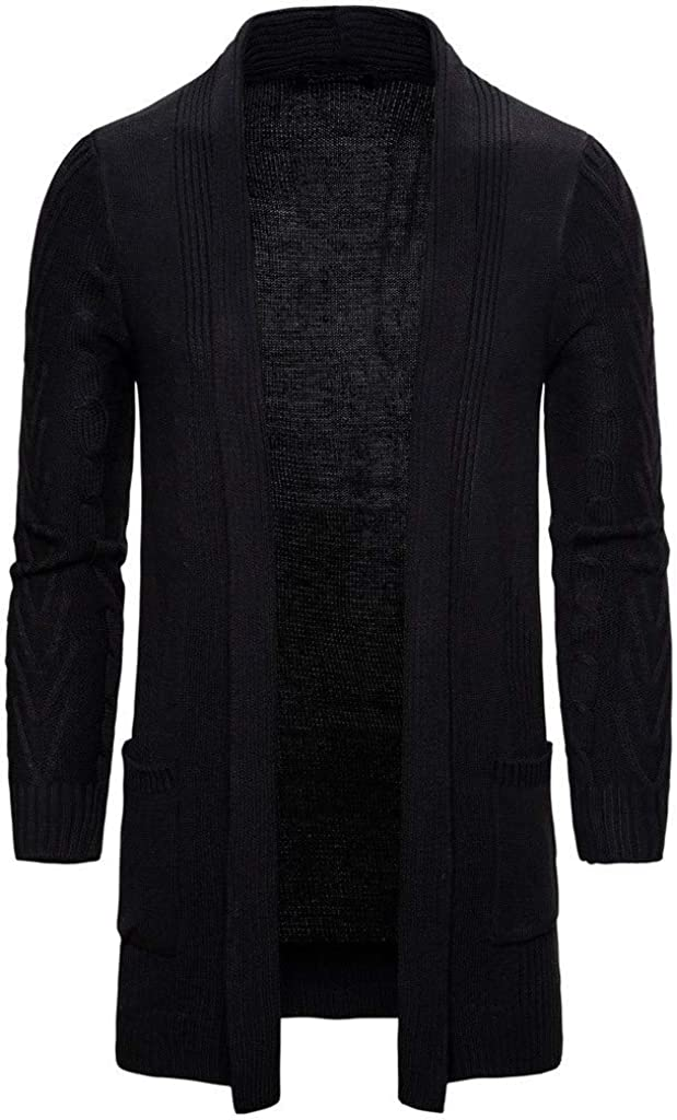 Men's Cardigan Sweaters Long Sleeve Open Front Cardigans Lightweight Slim Fit Trench Jacket