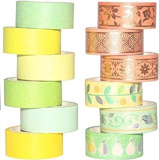 Yubbaex マスキングテープ 金箔押し 緑オレンジ 可愛いデザイン 15mm幅 x 12巻