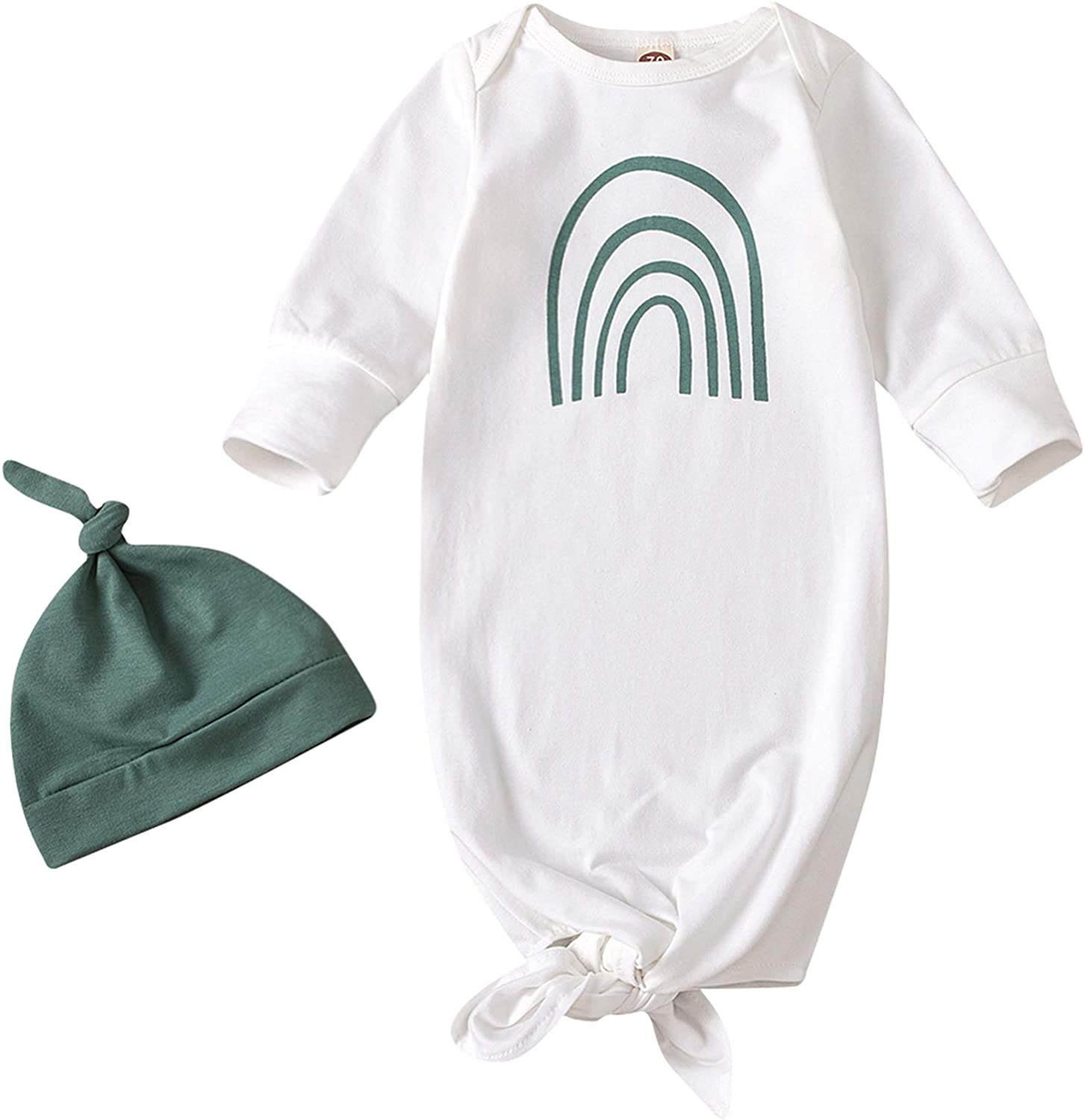 Newborn outlet Unisex Kids Lovely Sleeper Miami Mall Gown Hat with Knotted Sl Baby