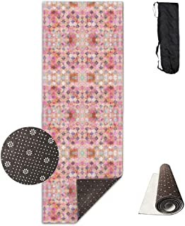 Non Slip Fitness Exercise Mat, Workout Mat for Yoga, Pilates and Floor Exercises, Comfort Velvet Estera de Yoga, Bohemian Night Skye Peach Fabric Mat Carrying Strap & Bag