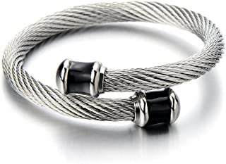 COOLSTEELANDBEYOND Mens Stainless Steel Twisted Cable Cuff Bangle Bracelet