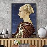 yaoxingfu Sin Marco Afiche de Estilo Europeo Retro Classique Caballero Medieval Hermosa Dama en la Pared para Sala de Estar HD Decoracion 30x45cm