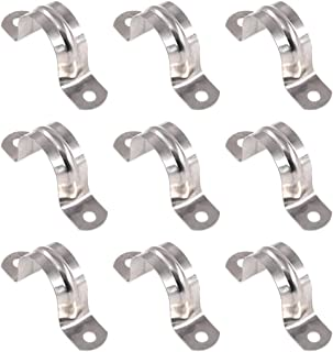 Keadic 30Pcs M32 Two Hole Strap U Bracket Tube Strap Tension Clips Stainless Steel Heavy Duty Rigid Pipe Strap Clamp
