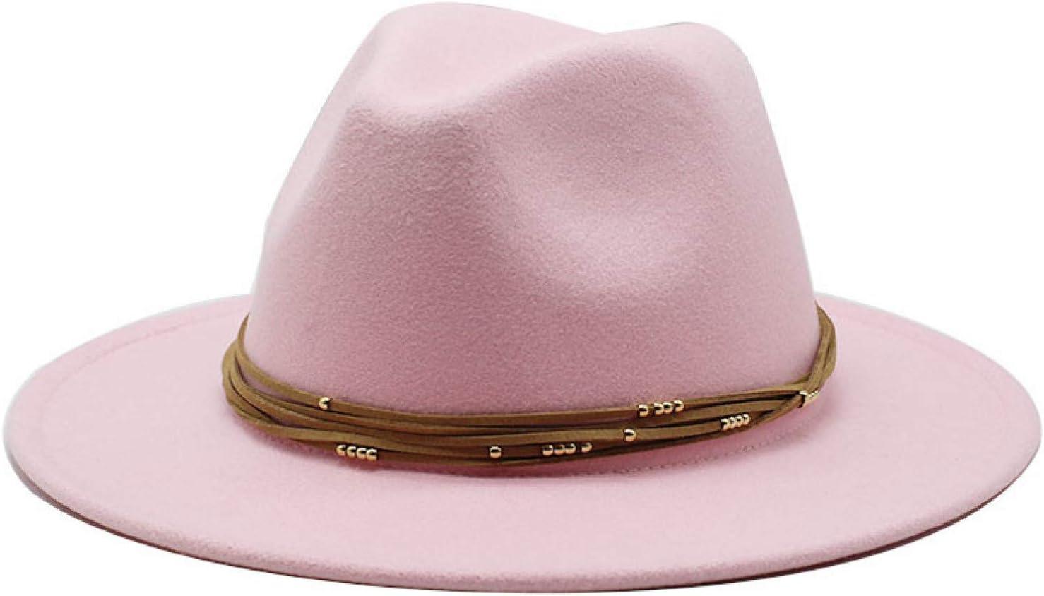 BAJIE Fedora 17 Color Vintage Retro Plain Dyed Wool Felt Black Ladies Hat Flat Brim Fedora Classic Unisex Jazz