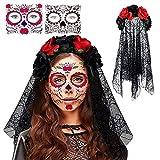 Diadema del Día de Muertos con Rosas Rojas,Velo de la muerte de Halloween,Con malla y 2 tatuajes faciales,Velo del Día de los Muertos