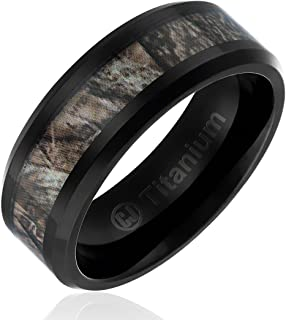 8MM Comfort Fit Titanium Hunting Ring | Black Plated Wedding Band with Camouflage Inlay | Beveled Edges