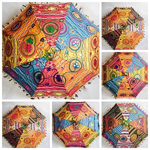Bazzaree Sonnenschirm im indischen Mandala-Stil, dekorativ verziert mit Stickerei, idealer Sonnenschutz für Damen