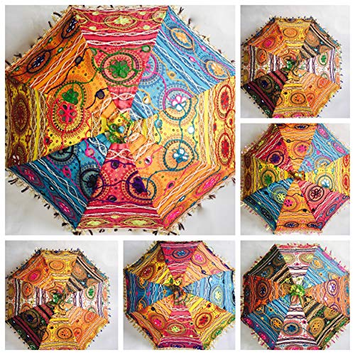 Bazzaree Sombrilla Decorativa de algodón Indio Bordado para Mujer, de protección contra el Sol, con diseño de Mandala