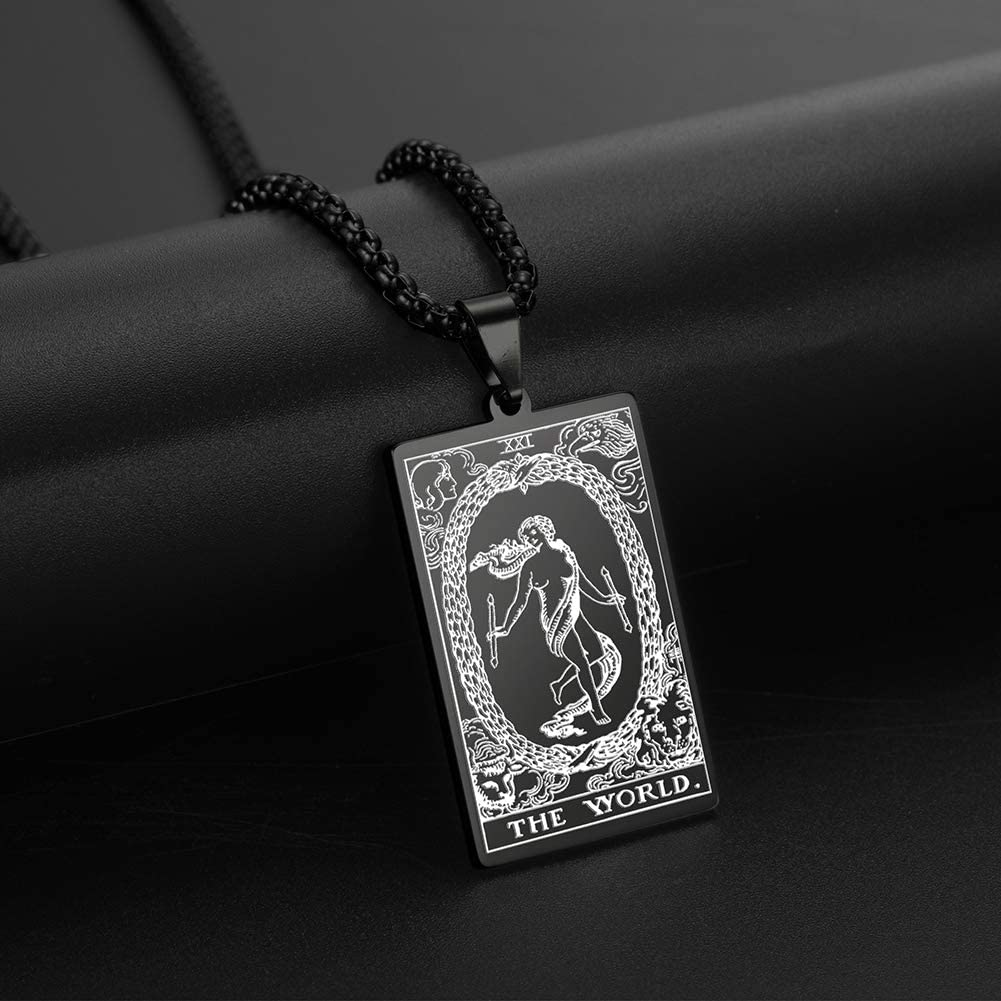 VASSAGO The First Set of Cards in The Tarot Pendant Necklaces The Major Arcana Tarot Cards Stainless Steel Jewelry