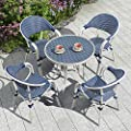PURPLE LEAF French Patio Dining Set Rattan Aluminum Large Size 5 Pieces with Armchairs and Tempered Glass Top Dining Table for Patio Lawn Garden Backyard Deck Porch Balcony Outdoor Dining Set, Blue
