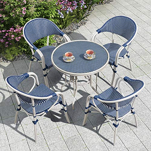 PURPLE LEAF French Patio Dining Set Rattan Aluminum Large Size 5 Pieces with Armchairs and Tempered...
