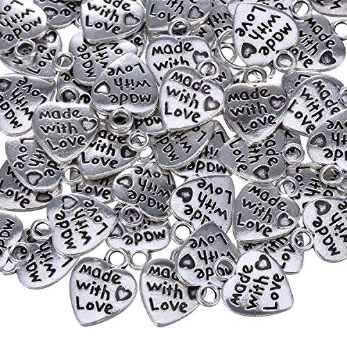 20 balises Alliage d/'or Bijoux Craft Sew Made With Love cœur forme métal étiquettes