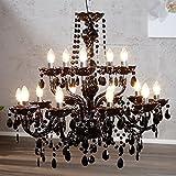 GRANDE LAMPADARIO 'LUXURY' | nero, acrilico, 15 lumi, Ø 82 cm |