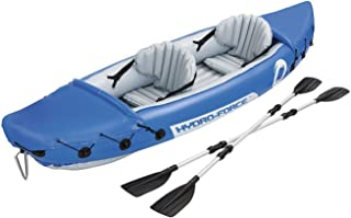 Inflatable Rubber Boat, River Fishing Boat for 2 People, with 2 Aluminium Oars and Foot Pump