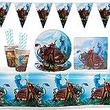 Vajilla de fiesta Cumpleaños,Decoración de mesa de Cumpleaños para Niños de Raya y el último Dragón,Set de Suministros para Fiesta de Cumpleaños,Decoración de Accesorios de Fiesta,Platos,manteles