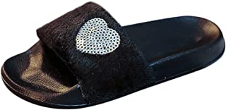 Sherostore ♡ Open Toe Fur Slippers for Women Summer House Slippers for Women Fluffy Slides Cozy Pom Pom Slip On Sippers
